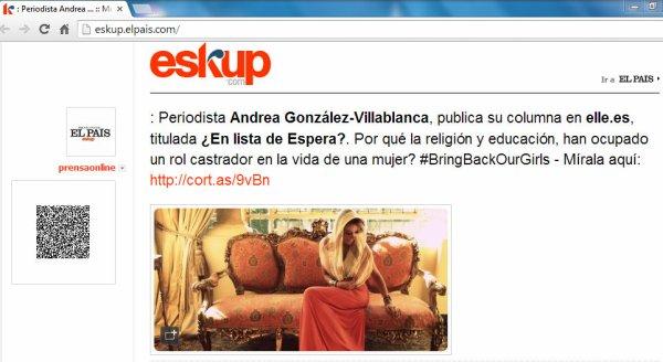 Periodista Andrea González-Villablanca y su éxito como columnista en blogs elle.es