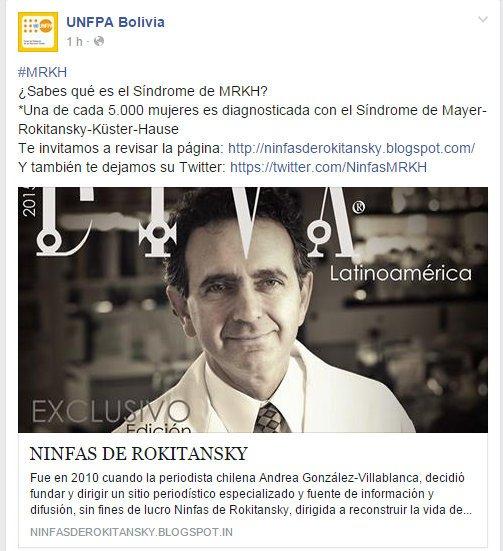 Fondo de Población de las Naciones Unidas apoya labor informativa de Periodista Andrea González-Villablanca sobre Síndrome de MRKH