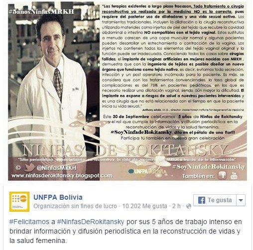 UNFPA Fondo de Población de las Naciones Unidas felicita labor informativa de periodista Andrea González-Villablanca en el Día Mundial del Síndrome de MRKH