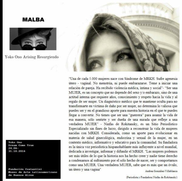 Testimonio de Periodista Andrea González-Villablanca destacado por Yoko Ono Arising y Museo MALBA