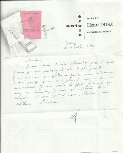lettres manuscrites  de champions cyclistes
