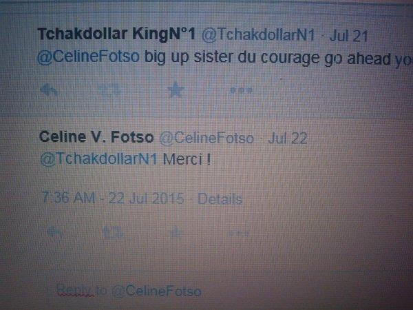 CELINE V FOTSO LIKE THE THE TCHAKDOLLAR KING TWEET FOLLOW HIM @TCHAKDOLLAR N°1-JE WANDA MAGAZINE