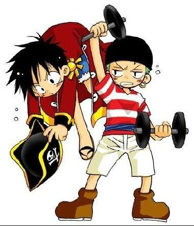 Capitaine Luffy x Zoro chibi