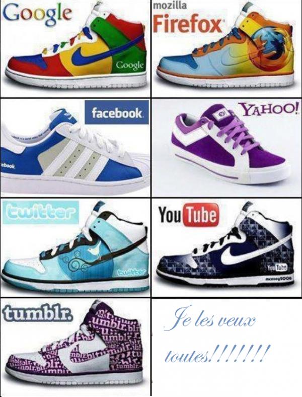 Les chaussures Nike de google, firefox, facebook, twitter….