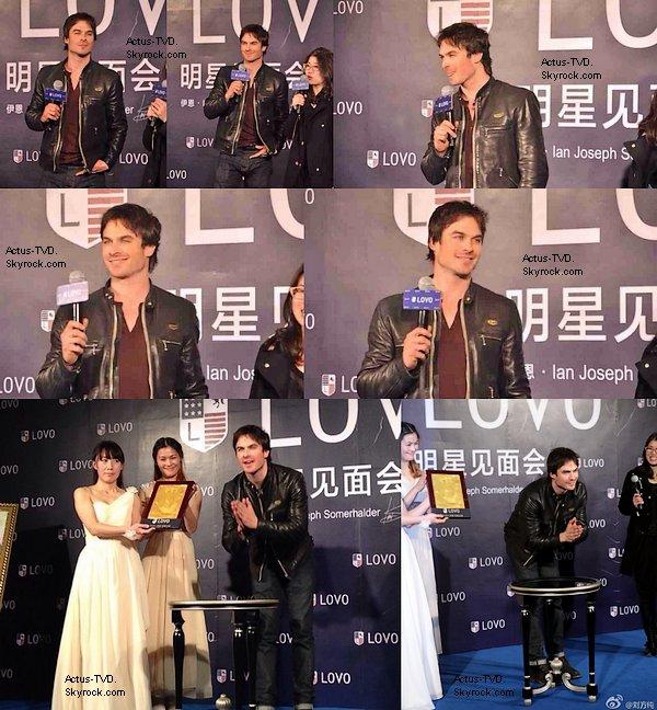 Ian Somerhalder est en Chine et il a participé à divers évènements ces derniers jours où il a pu rencontrer ses fans.