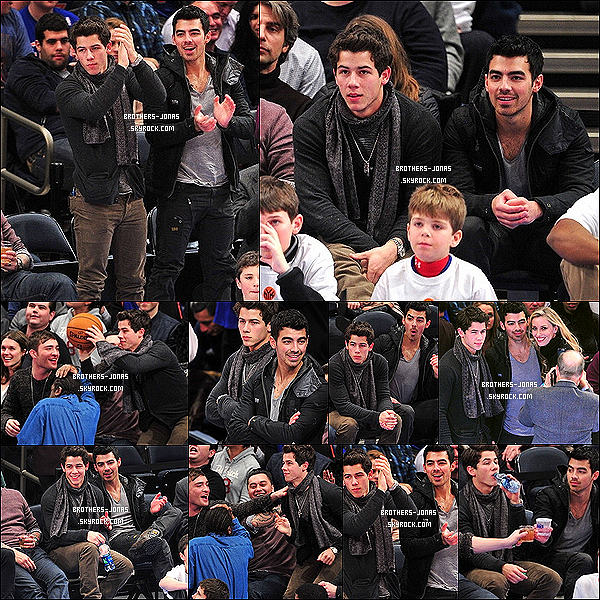21 Janvier :_ Joe et Nick Jonas  assistaient au match de basket opposant l'équipe de New York , à New York .   22 Janvier : Joe est bien emmitouflé dans sa doudoune alors qu'il est photographié dans les rues de NewYork