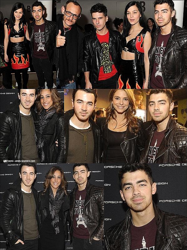 15/02/2012 :  Nos deux freres,Kevin et Joe accompagnés de Daniel la femme de K.à la Fashion Week de NYC.