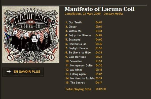 Manifesto of Lacuna Coil Compilation, 02 Mars 2009 - Century Media
