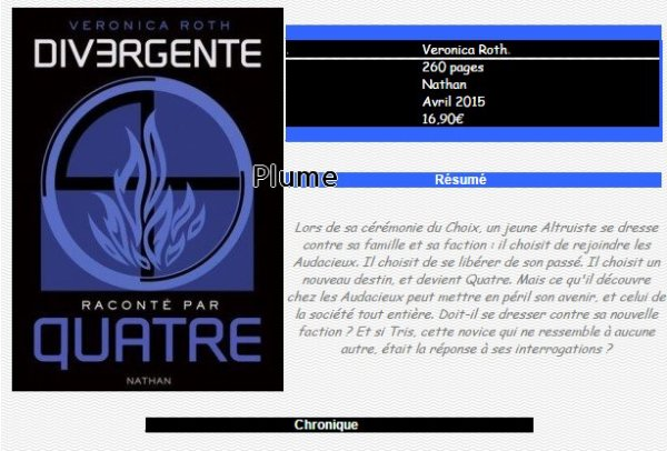 Divergent raconté par Quatre, Veronica Roth                        ♥♥