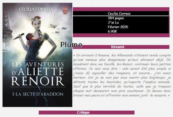 La secte D'Abbadon, Les aventures d'Aliette Renoir tome 1, Cecilia Correia ♥♥♥♥