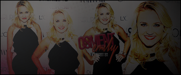 Bienvenue sur Osment-Em : ta source d'actualité quotidienne sur Emily Osment ! A travers photoshoot, events, candids, et autres, suis le train-train quotidien de la jolie Emily Jordan Osment.