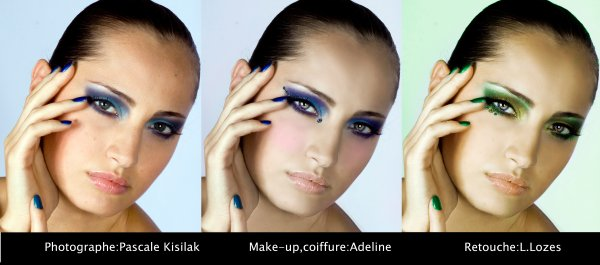 original-Retouche make up bleu-Retouche make up vert