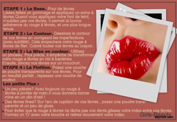 MAKE UP : Rien de plus ennuyeux qu'un rouge a lèvres qui laisse des traces. Avec ces astuces de pro,il tiendra toute la journée.