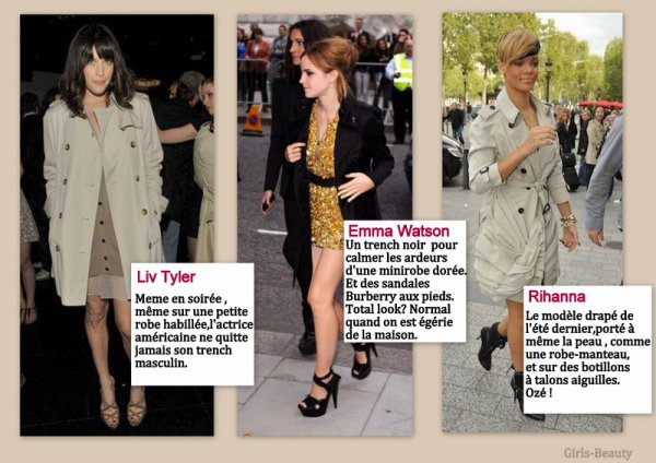 LOOK : Un trench ,100 façons différentes de le porter, en voilà 6 . Zoom sur les 6 stars : Blake Lively , Naomi Watts , Kate Moss , Liv Tyler ,Emma Watson et Rihanna .