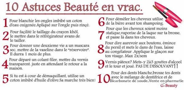 BEAUTÉ: Voici 10 astuces beauté en vrac ! Dis-moi ce que tu en pense!