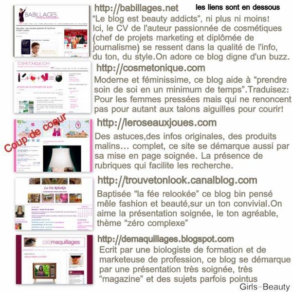 BEAUTÉ : Je vous propose ici quelques autres blogs beauté, mode, ... Je vous montre aussi un blog coup de coeur , je vais y faire un tour au moins une fois par jour !  je vous ai mis les liens en dessous du montage ;) Vous en pensez quoi ? Quel est votre coup de coeur ?