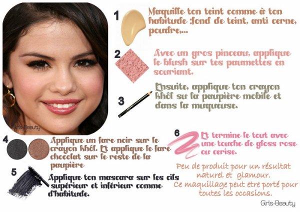 MAKE UP : Maquilles toi comme Selena Gomez ! Un maquillage simple à réaliser et il vous faut que peut de produits alors a vos pinceaux :D