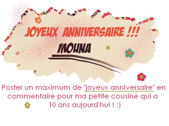 Bon anniversaire Mouna !!!!