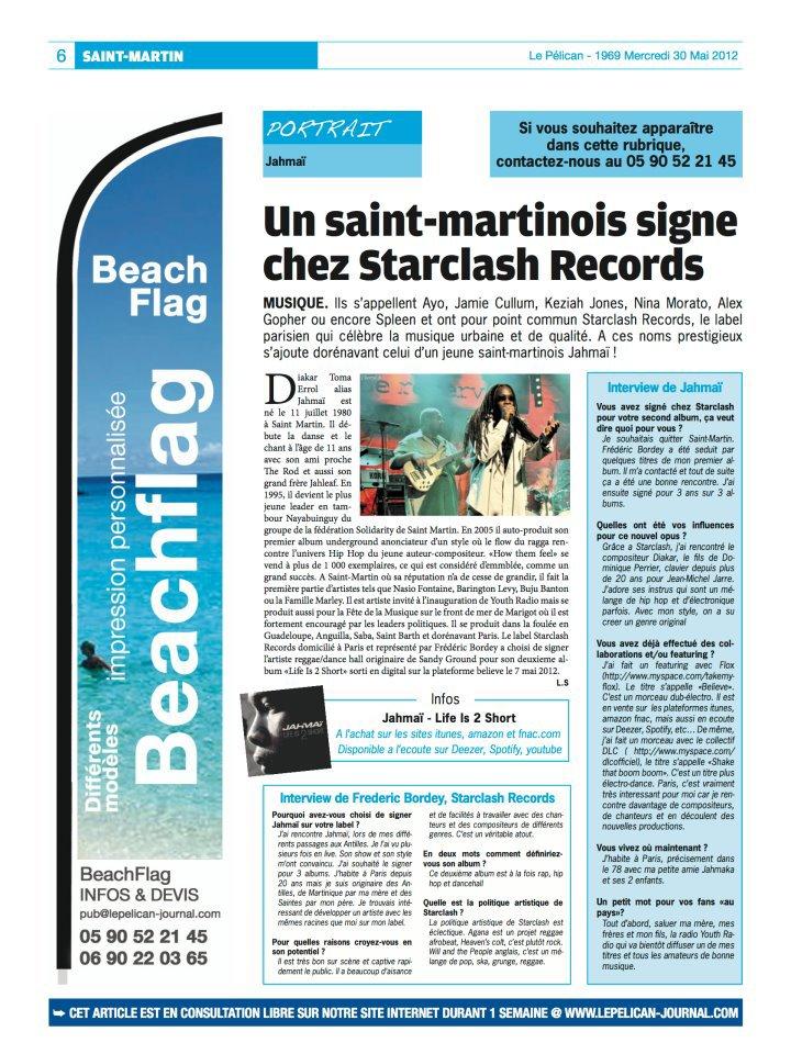 Une page dédiée dans le journal de St-Martin : LE PELICAN