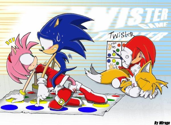 Quand Sonic, Amy, Tails et knuckles jouent au Twister...