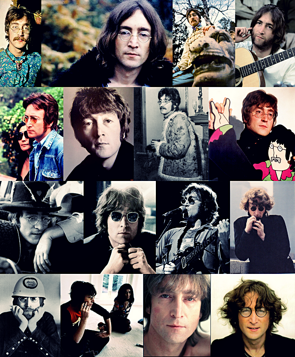 """John Lennon est né le 9 octobre 1940 à Liverpool, il est le membre fondateur des Beatles, de 1963 à 1970 il composa avec Paul McCartney les plus grand tubes du groupe.. En 1968 il rencontre Yoko Ono avec qui il formera un des couples les plus médiatisé du monde, 2 ans après leur rencontre les Beatles se séparent, certains dirons que la présence constante de Yoko dans les studios d'enregistrement et le fait qu'elle se mélle de leurs travails fera éclatée le groupe, pour beaucoup de fans elle est la seule responsable dans la séparation du groupe en 1970, Paul et John nieront cette accusation en expliquant qu'ils n'étaient plus en accord et qu'il était temps pour eux de passé a autres chose..mais malgrés cela certains fans continuerons d'accusé Yoko.. ! Après la séparation du groupe, John se lance dans une carriére solo accompagnée de sa femme ils forment le Plastic Ono Band, groupe variable et expérimental, le couple se retrouvent sur scéne et en studio avec des amis, il enregistre d'ailleurs """"Give Peace A Chance"""" pendant leurs Bed In pour la paix, leurs idée et leurs engagement feront d'eux des icones du mouvement Peace And Love.. ! En 1980 après 5 ans d'absence John revient avec l'album """"Double Fantasy"""" album partagée entre ses chansons et ceux de sa femme.. mais le 8 décembre 1980 John croise la route de Mark David Chapman, un fan dérangée qui lui en veut de milité pour la paix dans le monde alors qu'il méne une vie de richesse et de facilité d'aprés lui, il le croise une première fois en sortant du Dakota Building et lui signe un autographe, quelque heures plus tard il revient et Mark David Chapman lui tire 4 balles dans le dos.. Quelques heures après l'annonce de son décés des milliers de fans se rassemble devant le Dakota Building depuis et même 33 ans après son décés chaque années le 8 décembre ses fans se rassemble devant le Dakota Building pour honorée sa mémoire."""