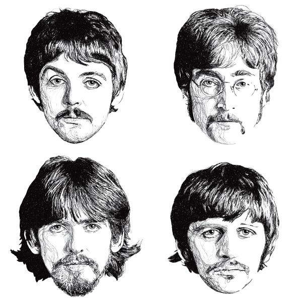 Le monstre a 4 têtes, avec chacune un prénom, John, Paul, George & Ringo.. ♥