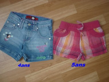 short ==> 5¤ pucca ==> taille 4 ans ,  rouge ==> 3¤ taille ==> 5 ans