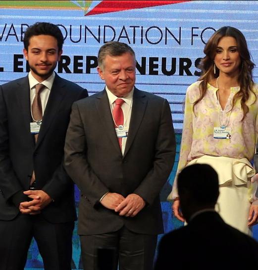Le roi Abdullah II de Jordanie et la Reine Rania de Jordanie au Forum économique mondial de Davos