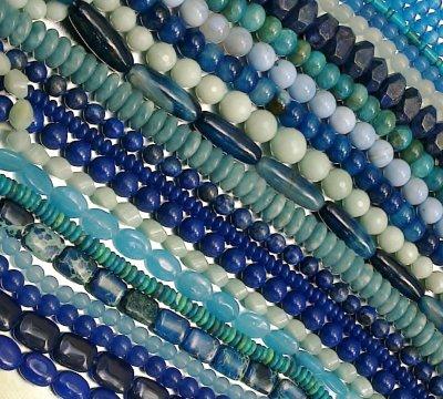 Mes Perles en Gemmes de couleur Bleue