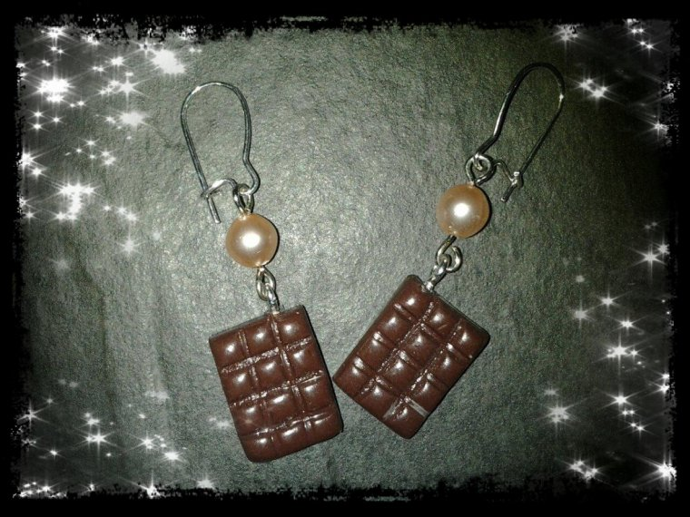 Boucles d'oreilles tablette de chocolat
