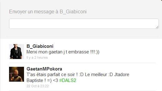 Réponse en privé de Baptiste Giabiconi sur Twitter !