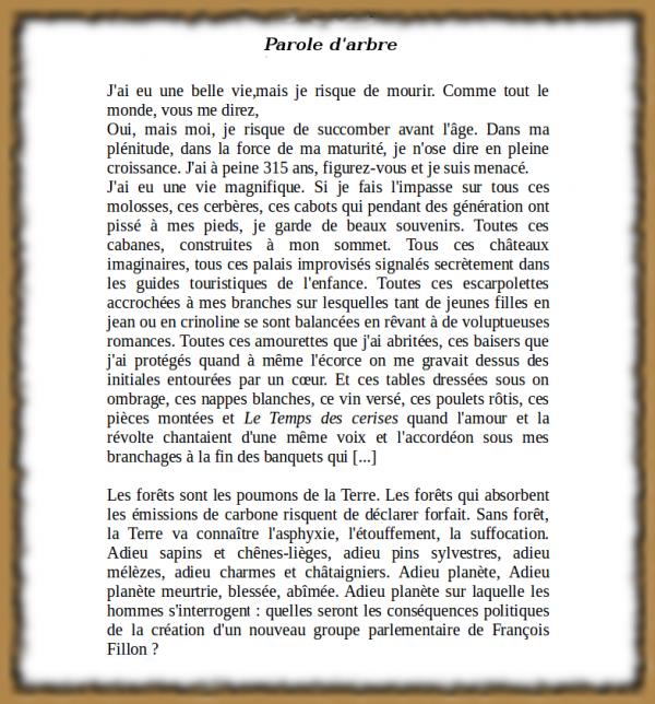"""140.3 - Le billet de François Morel ...""""Parole d'arbre"""""""