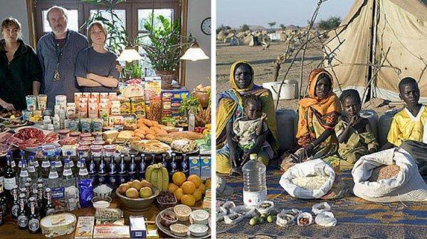 21 familles de 21 pays posent devant une semaine de nourriture !