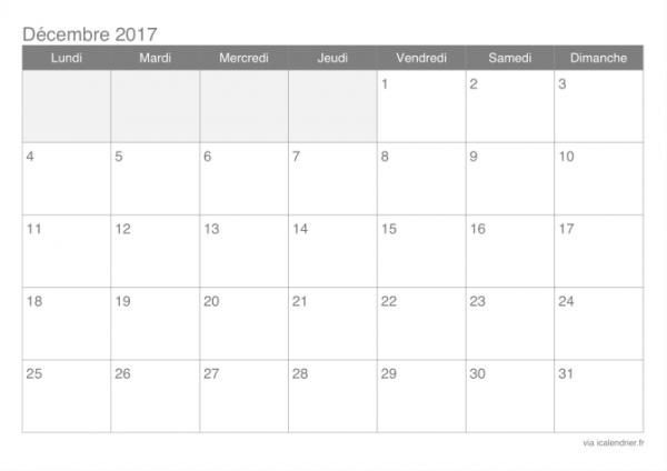 Planning de la semaine du 4 au 9  décembre  2017