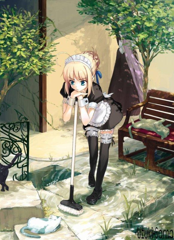 Maid qui regarde des chatons :O