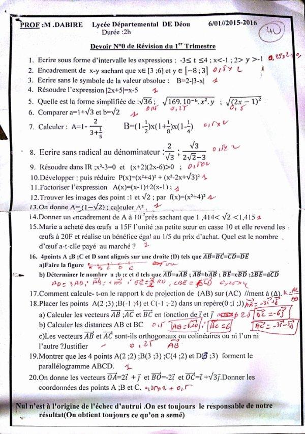 devoir physique chimie seconde