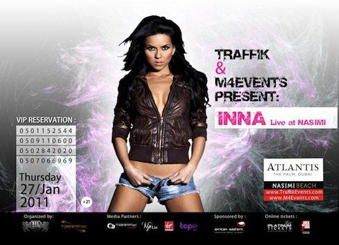 Inna jouera le 27 Janvier dans Nasimi Beach, Dubaï.  Allez voir! .