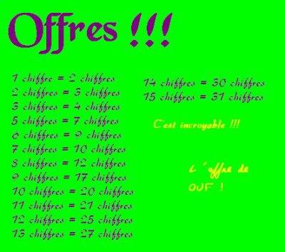 Offres !