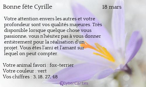 18 mars 2018 ,  nous fêtions Saint Cyrille