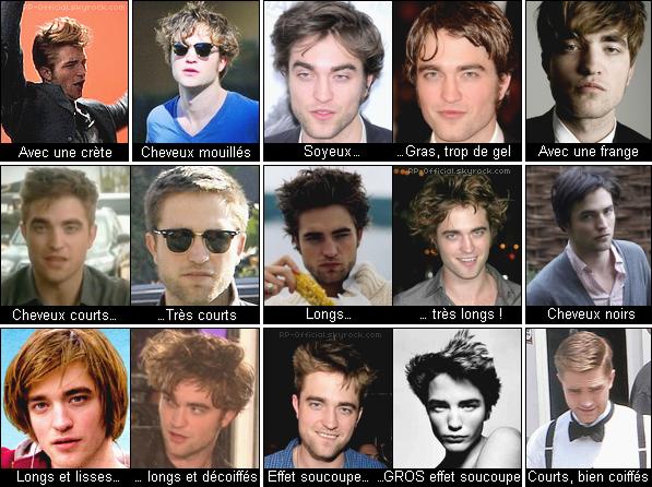 . Quand Robert Pattinson change de tête... . Robert et ses cheveux ? Une longue histoire d'amour.. ou d'horreur. Je vous ai réunis quelques-uns de ses styles capillaires, à vous de me dire quels sont vos préférés.. et ceux auquels vous n'adhérez pas ! ♥ .