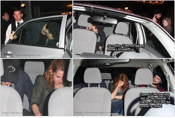 . 8 octobre 2010___~__Robsten quittant l'hôtel Thompson, Beverly Hills . Rob et Kris, accompagnés de Tom Sturridge, ont été vu quittant l'hôtel Thompson après avoir fait la fête sur son toit. (ça explique leur état :p).  .