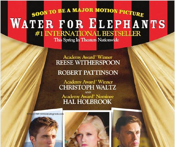 . Premier aperçu officiel de Jacob Jankowski . Grâce à un montage pour le catalogue de l'édition du livre Water for Elephants, on peut découvrir les acteurs principaux dans la peau de leur personnage respectifs, comme Robert Pattinson en tant que Jacob Jankowski. .