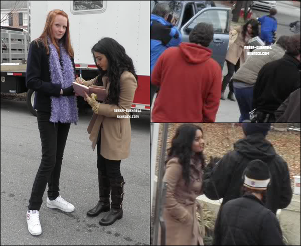 """_ Vanessa sur le tournage de """"Journey 2 : The Mysterious Island"""" la semaine dernière à Wilmington."""