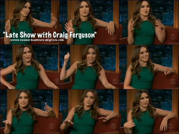"""_ Sophia enregistrant une interview à l'émission """"Late Show with Craig Ferguson"""" le 5 avril. ♥ ♥"""