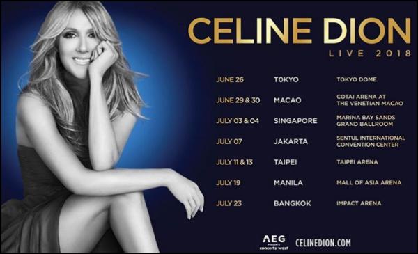 .  12/01/2018 : Après plusieurs rumeurs, Céline annonce officiellement sa tournée estivale en Asie Elle passera par Tokyo et Macao ainsi qu'à Singapore, Jakarta, Taipei, Manila et Bangkok!  .