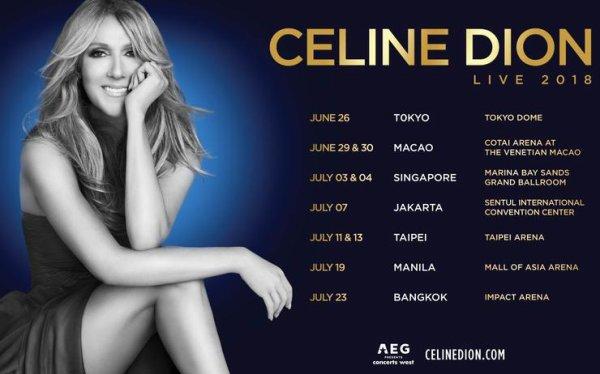 .  08/06/2018 : Céline présentait le show qu'elle fera pendant sa tournée estivale! Pour répéter le spectacle de sa prochaine tournée, Céline a présenté le show à Las Vegas  .