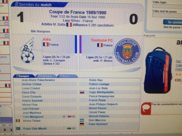 Photo du coup d'envoi TFC NICE avril 89 et copie ecran de la composition de match du 16/02/1990