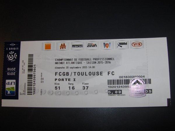 Photo du billet de match Bordeaux TFC du 20/09/2015