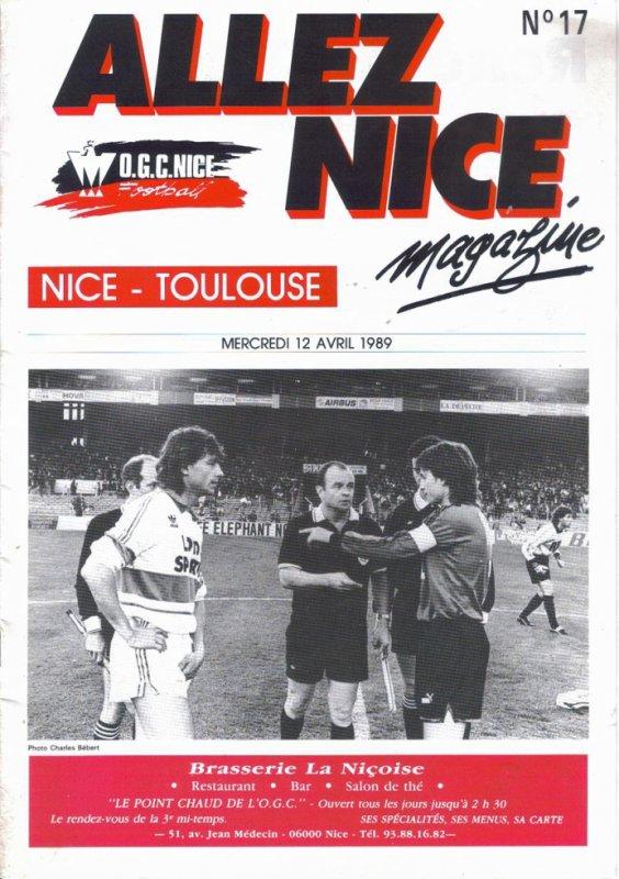 Photo du match TFC NICE Avril 1989