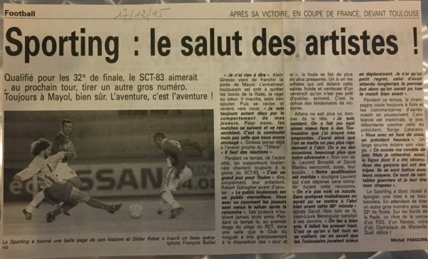 Photo du match Toulon TFC du 15/12/1995